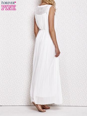 Biała sukienka maxi z koronkowym przodem                                  zdj.                                  4