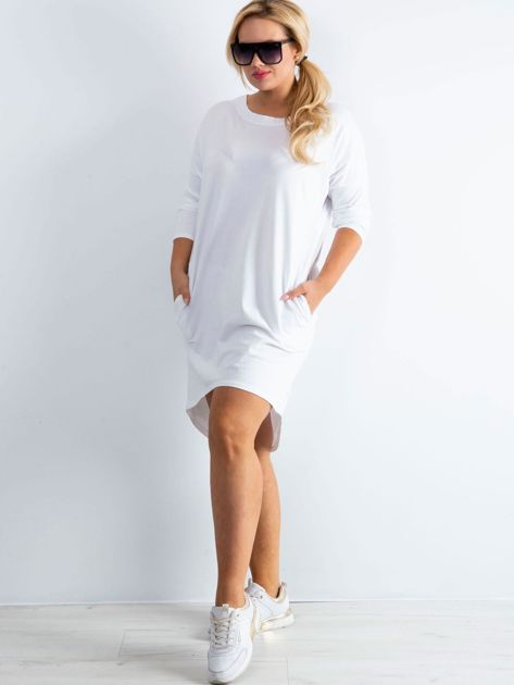 Biała sukienka oversize z bawełny                              zdj.                              1