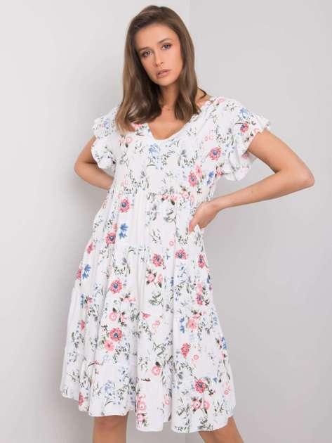 Biała sukienka w kwiaty Lucinda