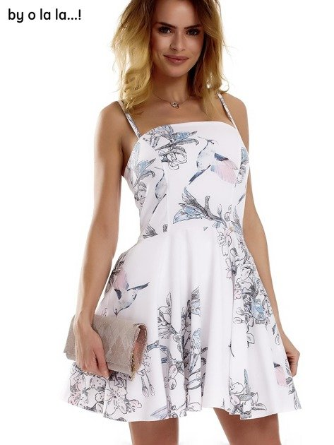 Biała sukienka w malarskie desenie BY O LA LA                                  zdj.                                  10