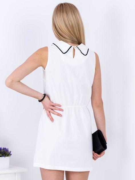 Biała sukienka z kołnierzykiem                               zdj.                              2