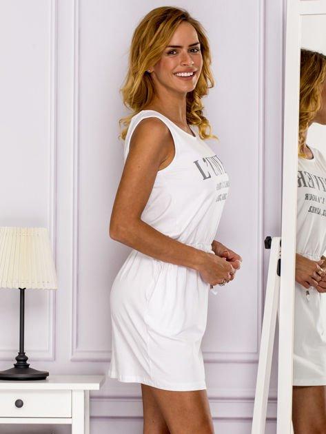 Biała sukienka z troczkami                              zdj.                              3