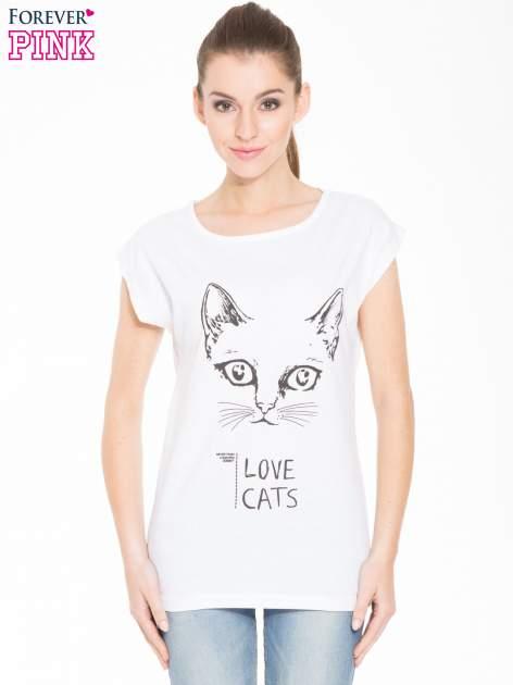 Biała t-shirt z nadrukiem kota i napisem LOVE CATS                                  zdj.                                  1