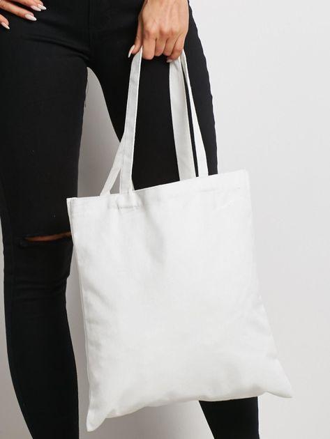 Biała torba materiałowa z printem                              zdj.                              3