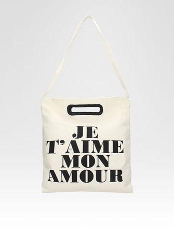 Biała torba shopper bag z napisem JE T'AIME MON AMOUR                                  zdj.                                  4