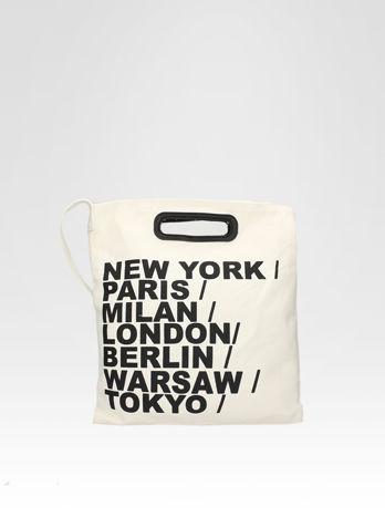 Biała torba shopper bag z printem                                  zdj.                                  1