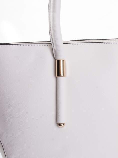 Biała torba shopper efekt saffiano                                  zdj.                                  5