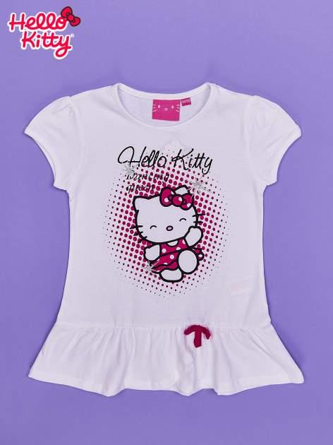 Biała tunika dla dziewczynki nadruk HELLO KITTY                                  zdj.                                  1