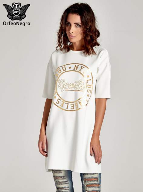 Biała tunika ze złotym printem w stylu sportowym                              zdj.                              1