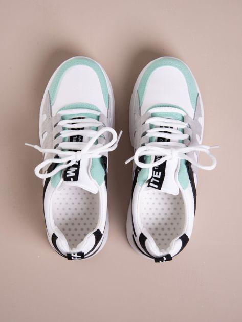 Białe buty sportowe ze skórzanymi miętowymi wstawkami                               zdj.                              3