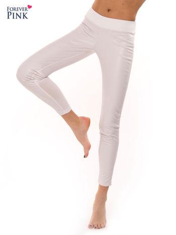 Białe dwustronne legginsy skórzane                                  zdj.                                  7