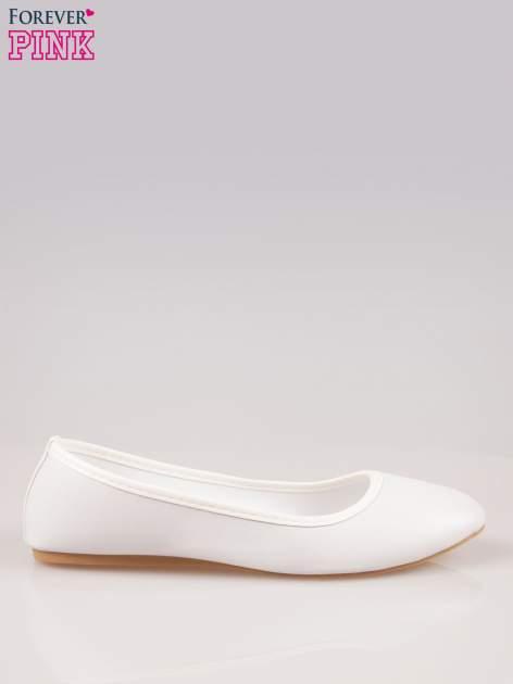 Białe gładkie balerinki eco leather ze skóry ekologicznej                                  zdj.                                  1
