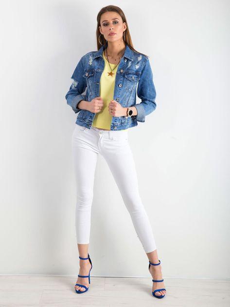 Białe jeansy biodrówki                              zdj.                              4