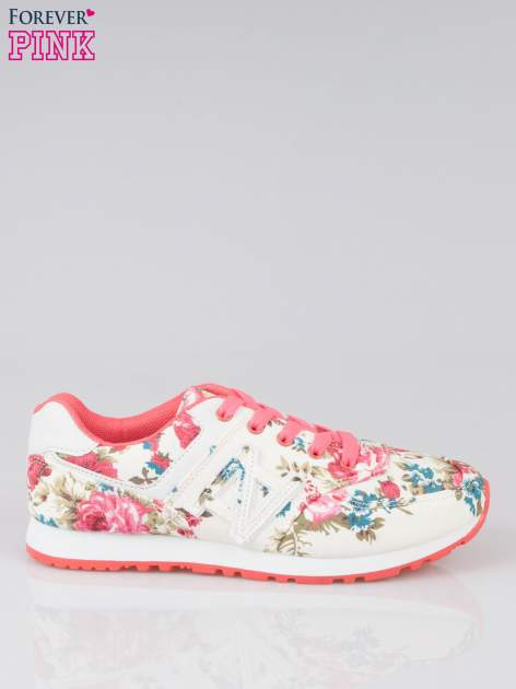 Białe kwiatowe buty sportowe faux leather Carry On w stylu casual                                  zdj.                                  1