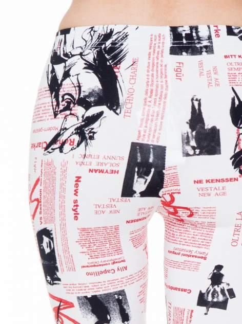 Białe legginsy z nadrukiem newspaper print                                  zdj.                                  6