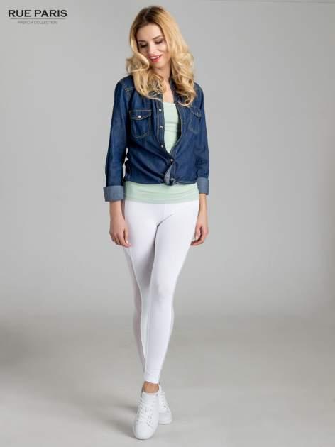 Białe legginsy z tiulową siateczką                                   zdj.                                  2