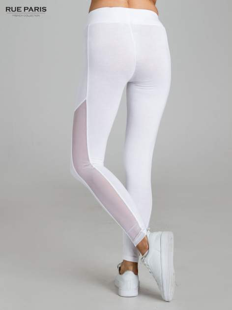Białe legginsy z tiulową siateczką                                   zdj.                                  4