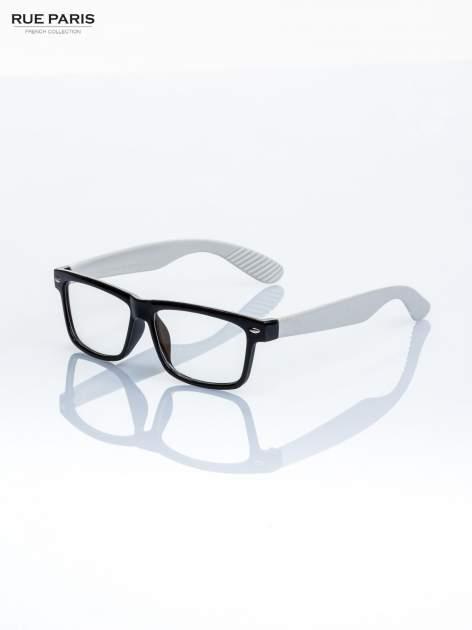 Białe okulary zerówki kujonki typu WAYFARER NERDY                                  zdj.                                  1