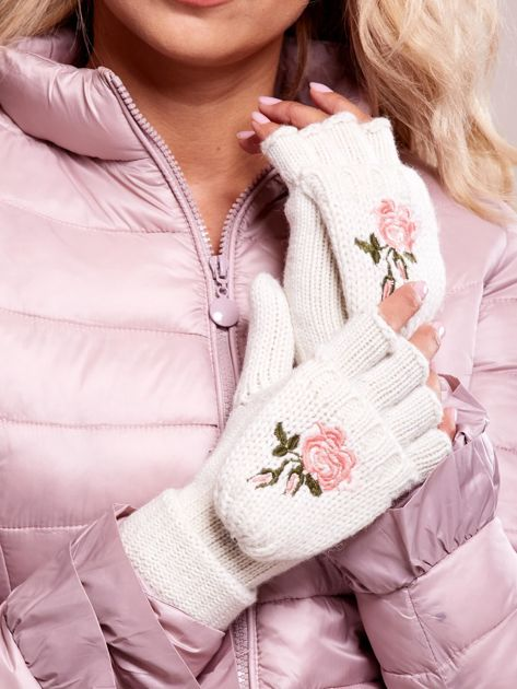 Białe rękawiczki z haftem                              zdj.                              1