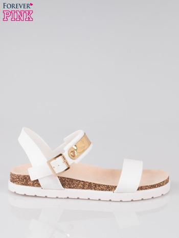 Białe sandały damskie z blaszką