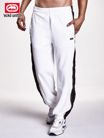 Białe spodnie dresowe męskie ze złotym wykończeniem