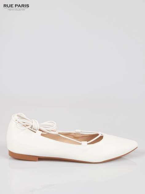 Białe wiązane baleriny leather Kylie lace up                                  zdj.                                  1