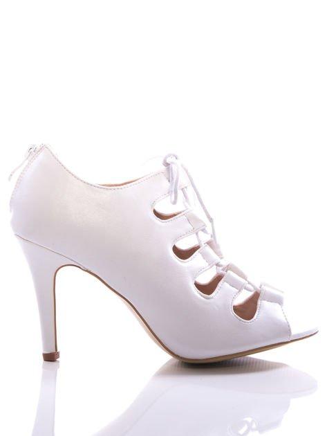 Białe wiązane sandały typu gladiatorki Dion                                  zdj.                                  1