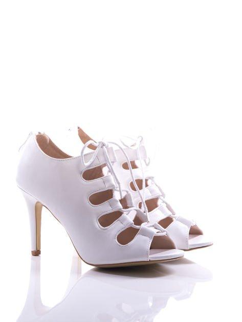 Białe wiązane sandały typu gladiatorki Dion                                  zdj.                                  2