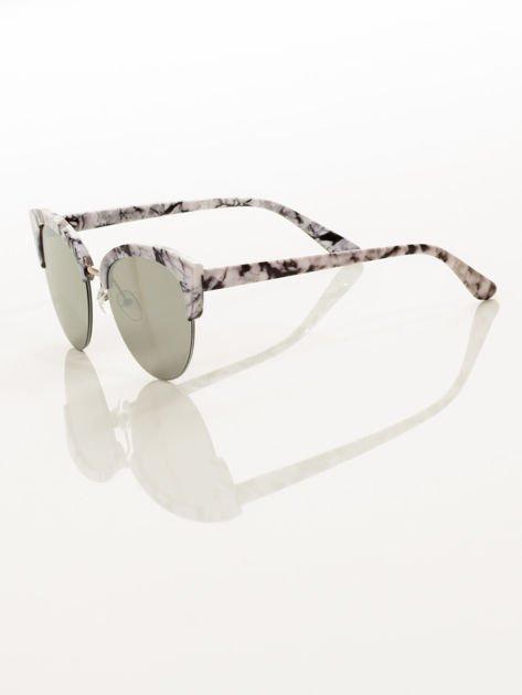 Biało-Czarne Marmurkowe Okulary Przeciwsłoneczne KOCIE OCZY                               zdj.                              5