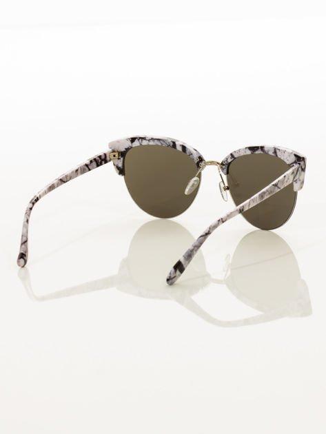 Biało-Czarne Marmurkowe Okulary Przeciwsłoneczne KOCIE OCZY                               zdj.                              6