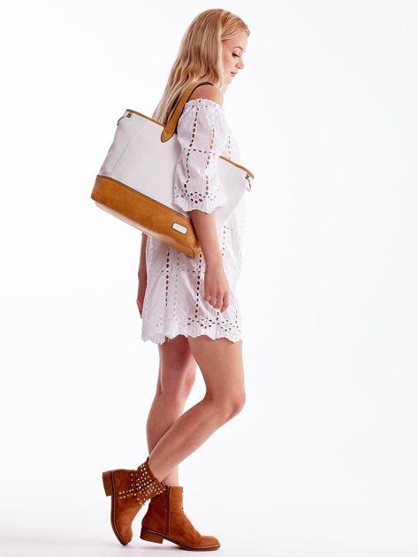 Biało-brązowa torba shopper z eko skóry z odpinanym paskiem                              zdj.                              1