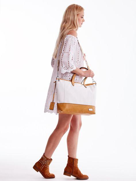 Biało-brązowa torba shopper z eko skóry z odpinanym paskiem                              zdj.                              6