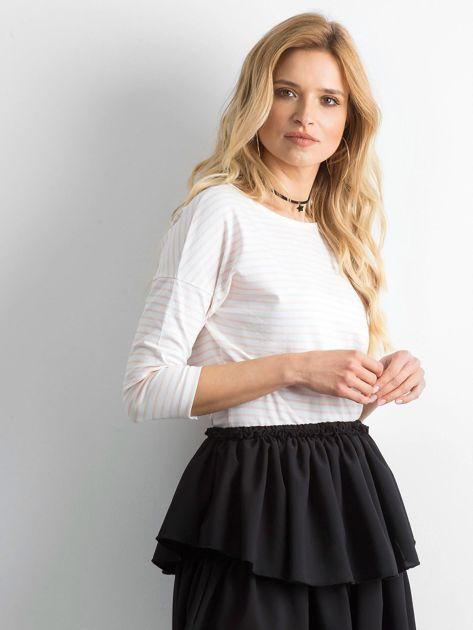Biało-brzoskwiniowa bluzka damska w paski                              zdj.                              3