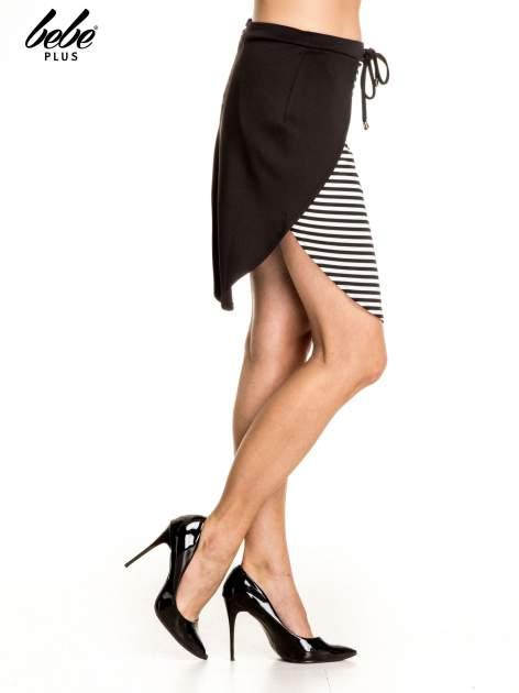 Biało-czarna dwuczęściowa spódnica w paski                                  zdj.                                  3