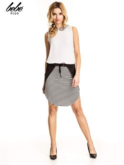 Biało-czarna dwuczęściowa spódnica w paski                                  zdj.                                  5