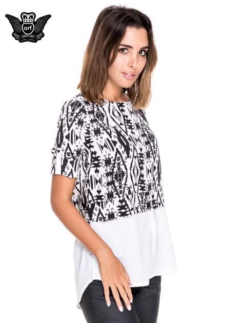 Biało-czarna dwuwarstwowa koszula we wzór ornamentowy                                  zdj.                                  5