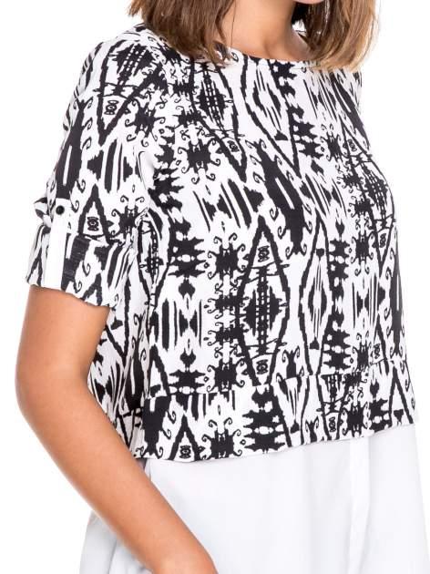 Biało-czarna dwuwarstwowa koszula we wzór ornamentowy                                  zdj.                                  6