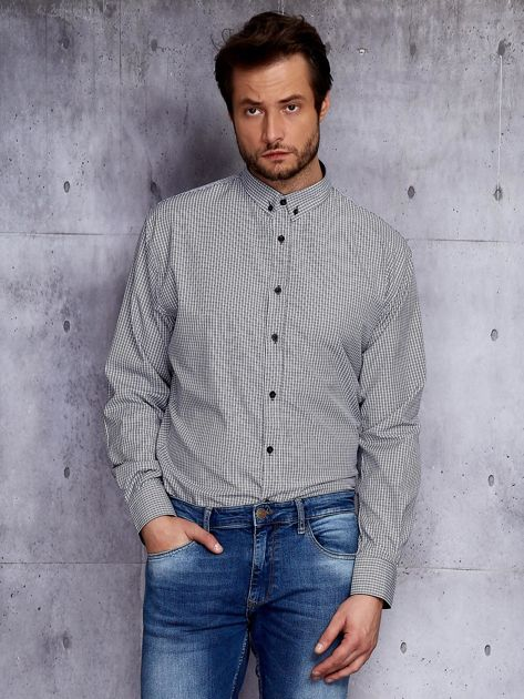 Biało-czarna kraciasta koszula męska PLUS SIZE                              zdj.                              1