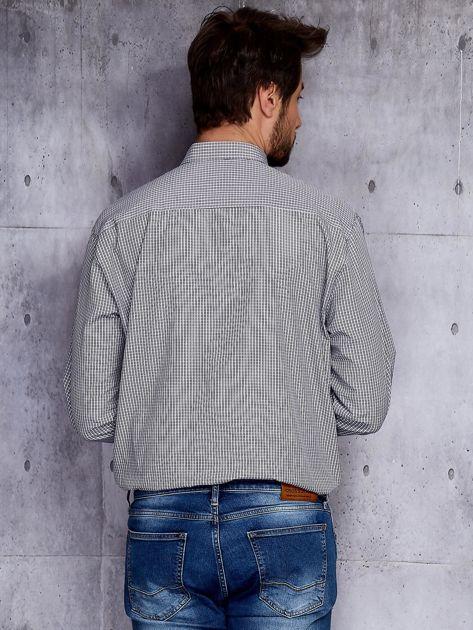 Biało-czarna kraciasta koszula męska PLUS SIZE                              zdj.                              2