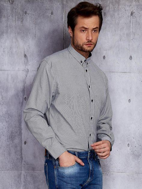 Biało-czarna kraciasta koszula męska PLUS SIZE                              zdj.                              5