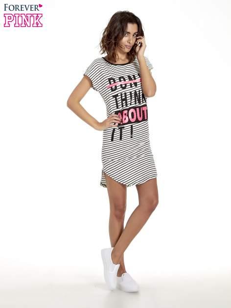 Biało-czarna sukienka w paski z napisem I DON'T THINK ABOUT IT!                                  zdj.                                  8