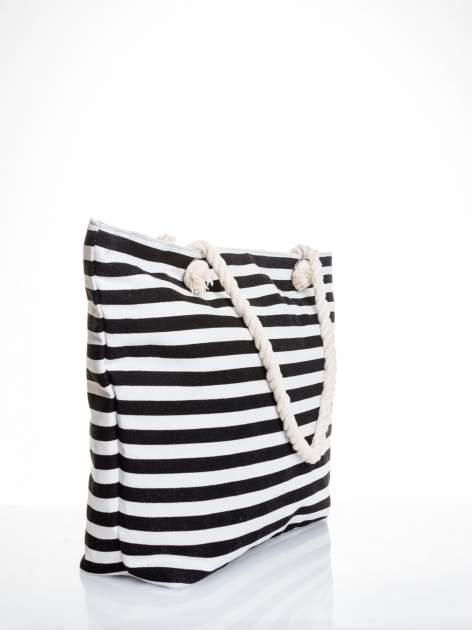 Biało-czarna torba plażowa w paski                                  zdj.                                  3