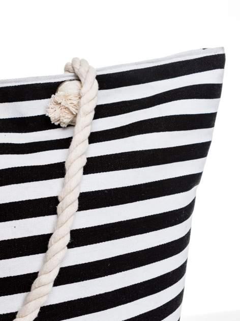 Biało-czarna torba plażowa w paski                                  zdj.                                  6