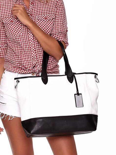 Biało-czarna torba shopper z eko skóry z odpinanym paskiem                              zdj.                              1