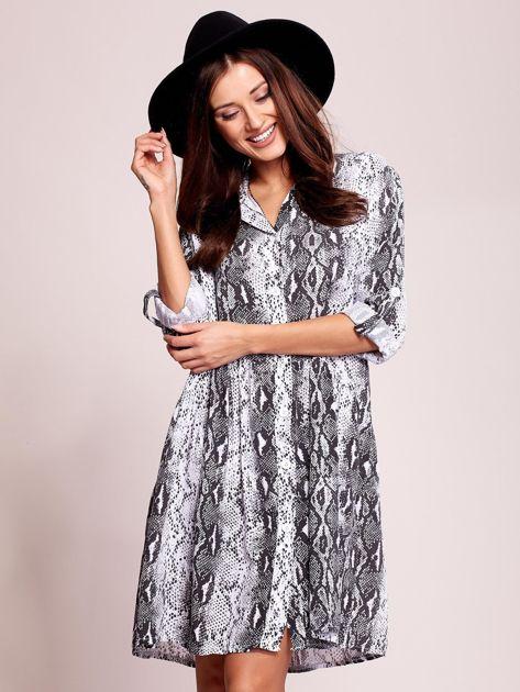 Biało-czarna wzorzysta sukienka na guziki                               zdj.                              5