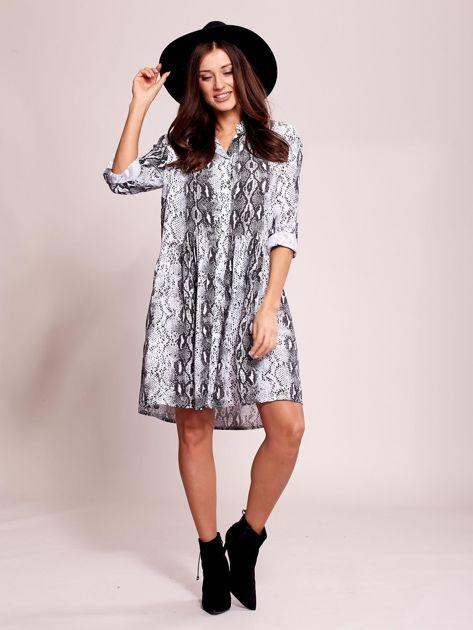 Biało-czarna wzorzysta sukienka na guziki                               zdj.                              4