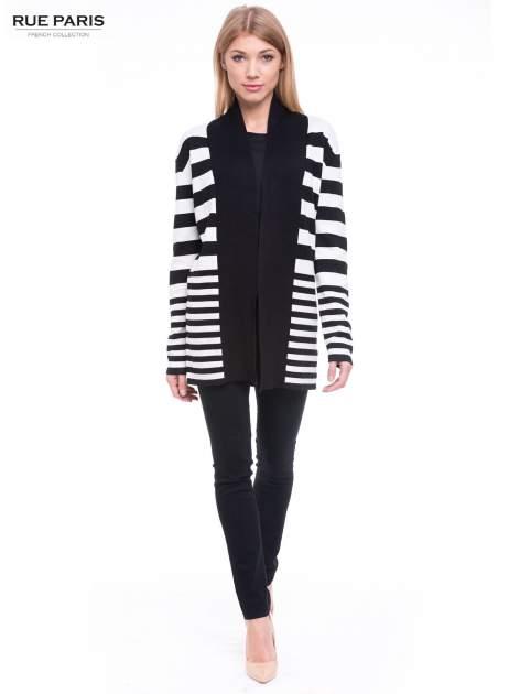 Biało-czarny pasiasty otwarty sweter kardigan z prążkowanym kołnierzem                                  zdj.                                  2