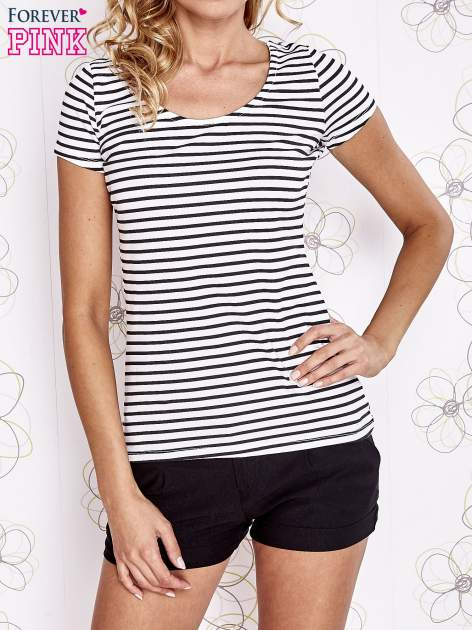 Biało-czarny t-shirt w paski crossed back