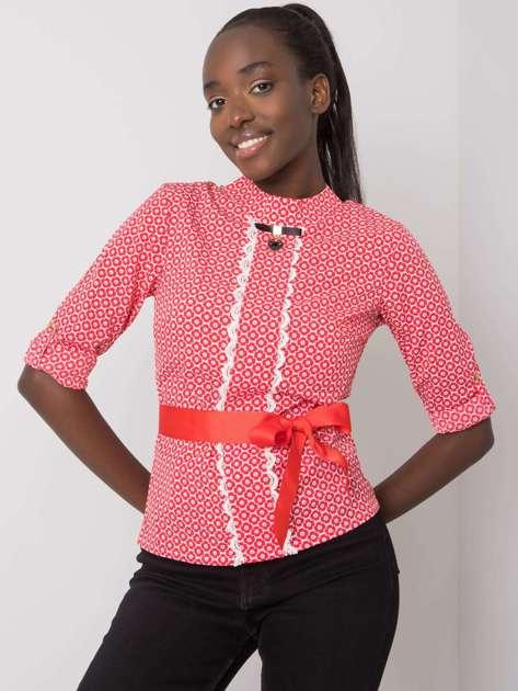Biało-czerwona bluzka we wzory Tiana