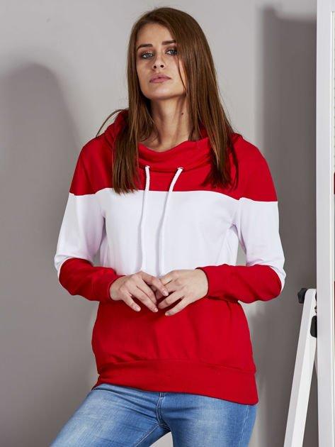 Biało-czerwona modułowa bluza damska z troczkami                              zdj.                              1